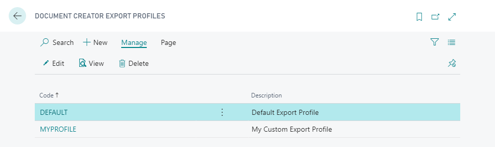 export-profile-list